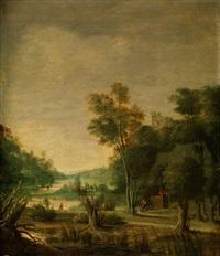 flusslandschaft mit jungen bäumen und krüppelweiden am ufer sowie figurenstaffage und einer burgruine auf einer rechten anhöhe by rafael govaertsz camphuysen