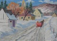 winter road, laurentians by gordon edward pfeiffer