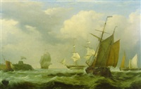 dutch pinks and merchantmen off a fortified jetty by george philip reinagle