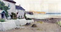 the peace of evening around a golden day, fisherman's cottages and harbour, probably cemaes bay by john mcdougal
