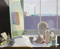 studio still life with a bust, a conch and a chimney reflected in a mirror by david denby