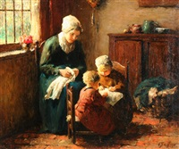 interior scene with mother and children by jan ernst de groot
