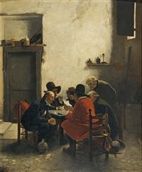 holländisches interieur mit herrenrunde by charles ferdinand ceramano