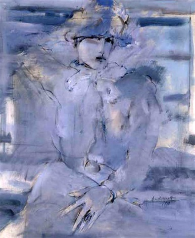 dame in blau by peter andermatt