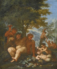 landscape with silenus and putti by abraham brueghel