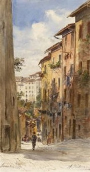 straßenzug in siena by anton paul heilmann