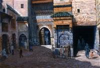scène de rue à fès devant la fontaine nédjarine by albert pilot