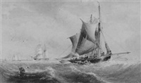 fishing boats and merchant ships in choppy seas by richard principal leitch