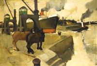 chevaux de trait au port by oscar verpoorten