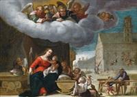 die heilige familie vor der michaelskirche in münchen by friedrich sustris