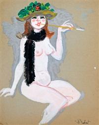 peinture à la gouache sur carton représentant un nu féminin by macherot