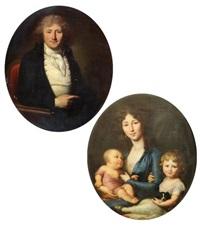 portrait de joseph charles dumas de culture et portrait de son épouse et leurs enfants (pair) by henri-pierre danloux
