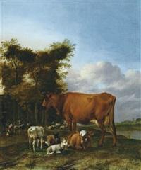 bergers et troupeau reposant au bord de l'eau by albert jansz klomp