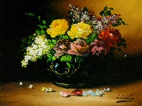 still life with roses and lilacs by georges coulon