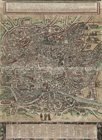 antiquae urbis romae imago accuratiss: bird's-eye plan/view of rome (on 2 joined sheets) by braun & hogenberg