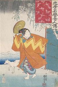konvolut von acht farbholzschnitten (oban tate-e) (8 works) by utagawa kuniyoshi