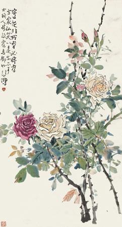 盛开的玫瑰 (flower) by xu beihong