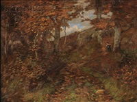 hiker in the autumn woods by daniel santry