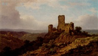 mountainous landscape with castle ruins and figures by johannes jacobus antonius hilverdink