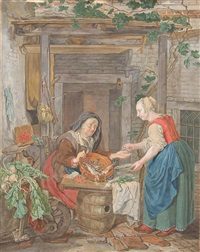 an old woman selling fish (after gabriel metsu) by tethart philip christian haag