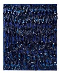 monochrome accumulation (ultarmarine blue) by arman