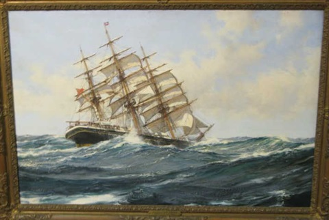 hurrying seas, depicting merchant clipper ship with three masts and square rigs by montague dawson