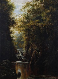 autumn, in the fairy glen, bettws-y-coed, north wales by william henry mander