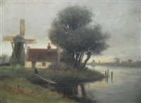 dutch cottage with windmill by george linton herdle