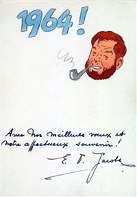 blake et mortimer - superbe illustration pour une carte de voeux pour l'année 1964 by edgar pierre jacobs