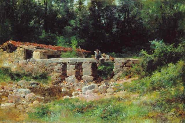 paisaje con arroyo y figuras by josé armet portanel