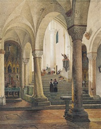 blick in das innere des domes s. sisto in viterbo by maximilian albert hauschild