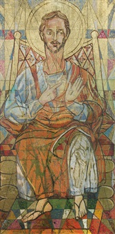 study of the sacred heart central panel of a tryptych in st. aidan's church, east acton; the crucifixion (2 works) by roy de maistre