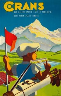 crans sur sierre - valais - suisse 1500 m / golf alpin - plage - tennis, 1943 by martin peikert