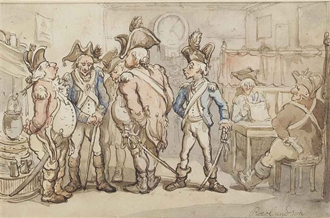 militia men at an inn by thomas rowlandson