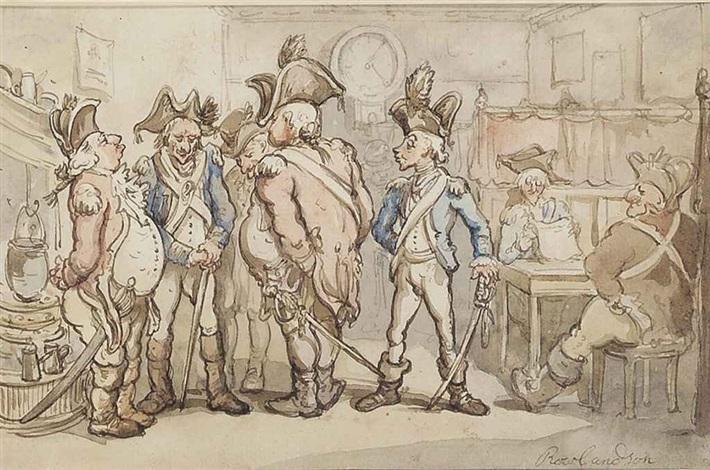 militia men at an inn by thomas rowlandson