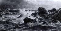 rockey coastal scene by j. r. miles