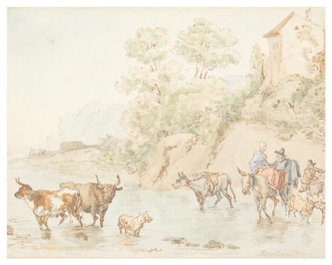 river crossing by thomas rowlandson