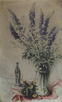 blue flowers in a glass vase by dirk kruizinga