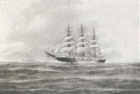the 'governor robie' under sail with another ship in the background by j. arnold