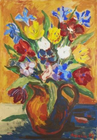 stilleben med blommor by albin amelin