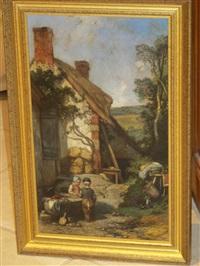 les enfants dans la cour de la ferme by eugène modeste edmond le poitevin