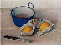 a still life with lemons, a knife and small pot by jan boon