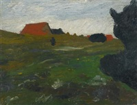 landschaft mit busch und roten häusern (landscape with shrubs and red houses) by paula modersohn-becker