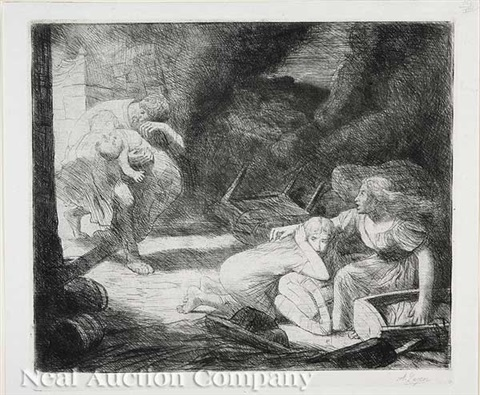 lincendie no 2 2 others 3 works by alphonse legros