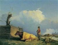 landskab med hyrdedreng og kvæg by jacques van gingelen