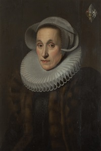 portrait of a lady, with coat-of-arms (upper right) by hans eworth