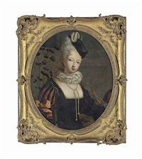portrait of a lady, half-length, in a black, gold trimmed dress with slashed sleeves, a ruff, a pearl necklace and a hat by antoine pesne
