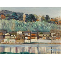 houses along the river by hakutei ishii