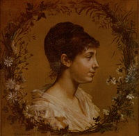 portrait of a young woman within wreath of flowers by alexis joseph mazerolle