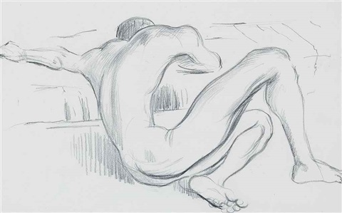 man curled up and studies of male nudes leaning on chair backs 2 works 3 works by cecil beaton